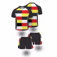 China Full sublimated sportswear athletic black striped fiji rugby jersey wholesale