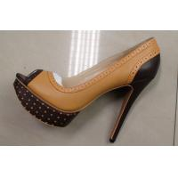 China latest Ladies high heeled leather shoes with chocalate color for platform wholesale