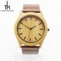 China Fashion Quartz Wooden Wrist Watch With Leather Strap For Sports Use on sale