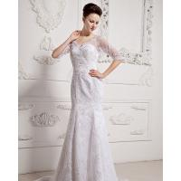 China Girls Long Sleeve Big V Neck Wedding Dresses Appliques with cathedral train on sale