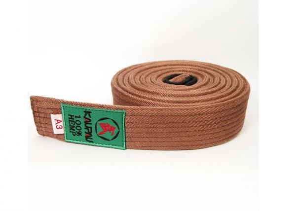 Quality Brazilian Jiu Jitsu Brown Belt , 0.5CM Height Youth Bjj Hemp Belt for sale