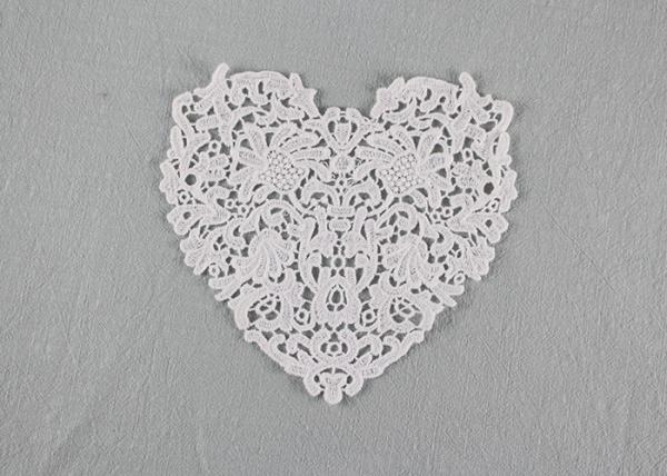 Quality Guipure French Venice Lace Collar Cotton Lace Heart Applique For Wedding Dresses for sale