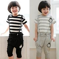 China 2014 Boys suits cotton fashion suspender pants suits wholesale Children clothing 5pcs/lot wholesale