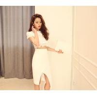 Round Neck Womens Suit Dress Female Short Sleeved party dresses