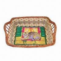 China Rectangle-shaped fern basket with fabric liner wholesale
