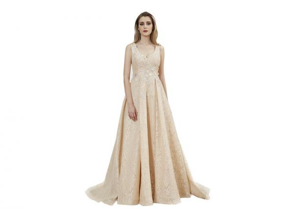 Quality Beige Color Sleeveless Prom Party Dress / V Neck Backless Long Maxi Gown for sale