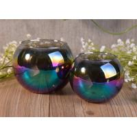 Buy cheap Ball Shaped Decor Glass Tealight Holders , Iridescence Lantern Glass Candle Jar from wholesalers