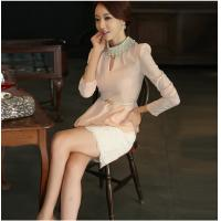 Pink Diamond Pearl Collar Womens Suit Dress with Lace Skirt for girls