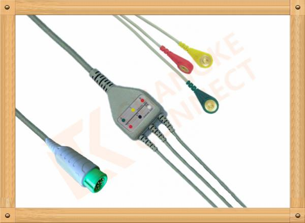 Quality Fukuda Denshi ECG Patient Cable 3 Leads Snap IEC Insulated for sale