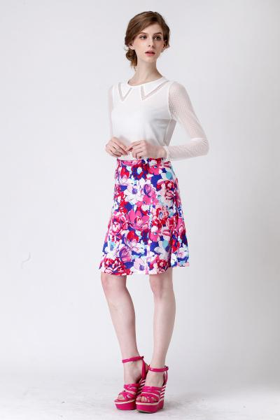 Quality women clothing apparel stock lots-low price ladies knee length  printing skirts stock for sale
