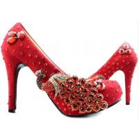 China Hotest Wedding spring new heels/slipper high female marry bridal gown red diamond shoes on sale