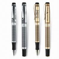 China Unique Grid Pattern Ballpoint/Rollerball Pens, Heavy Weight Brass Construction, Gel Ink is Available wholesale