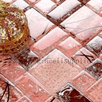 China Self adhesive polishing mosaic custom designs to print red glass tile/red mosaic tile on sale