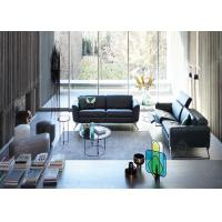 China Hotel Lobby Stainless Steel Sofa And Chair Set , Black Modern Sectional Leather Sofas wholesale