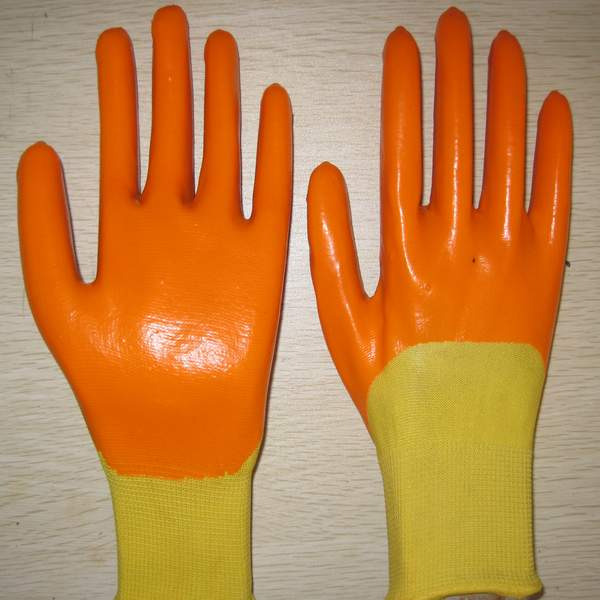 Quality yellow PVC coated working gloves PG1511-7 for sale