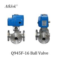 China Stainless Steel Sanitary 3 way flange Electric Motor Ball Valve wholesale