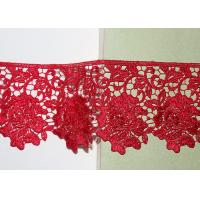 Red Flower Embroidered Lace Trim By The Yard Environmental Protection