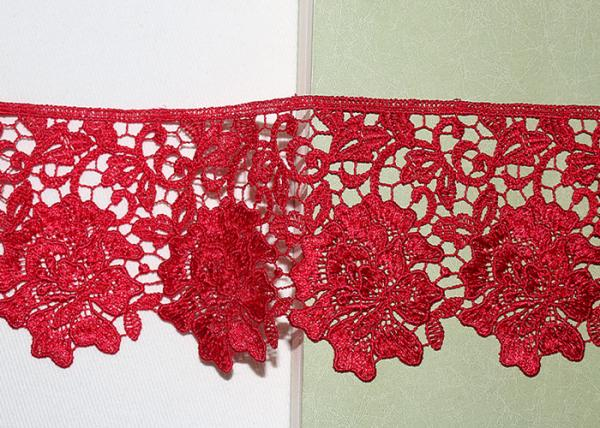 Quality Red Flower Embroidered Lace Trim By The Yard Environmental Protection for sale