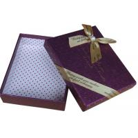 China Pink / Purple 8 * 8 * 4 Inch Paperboard Chocolate Packaging Boxes With Lid And Bow on sale