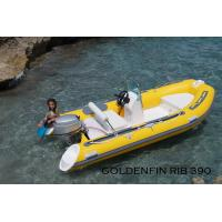 China 13Ft Fiberglass Hull Small Rib Boat  in yellow color for fun on the sea wholesale