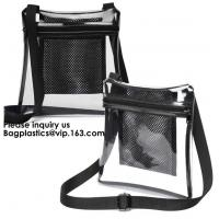 China Clear Sling Bag PVC Tote Bag With Interior Mesh Bag And Shoulder Strap,Clear PVC large handbag with small pouch wholesale