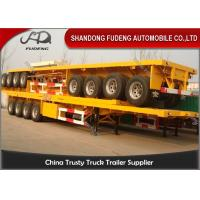 China 4 Axle Flatbed Semi Trailer ,  40 / 20ft Container Carrying Semi Flatbed Trailers wholesale