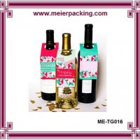 China Wine Bottle ID Tags/Custom Printed Promotion Sale Tag/Paper Gift Hangtag for Wedding Wine Bottle ME-TG016 on sale