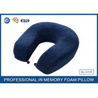 U Shaped Blue Crystal Velvet Slow Rebound Memory Foam Travel Neck Pillow