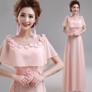 China Pink O Neck Chiffon Floor Length Elegant Evening Dresses TSJY058 wholesale