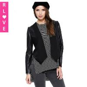 China new spring models laser hollow mesh stitching PU leather jacket female motorcycle clothing on sale