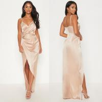 China 2019 New Arrivals Women Casual Petite Champagne Satin Maxi Dress And Sexy wholesale