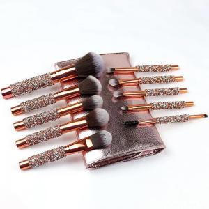 China Ten Wrapped Diamond Belt Bag Beauty Tools Cosmetic Makeup Brush Set Wood Handle wholesale