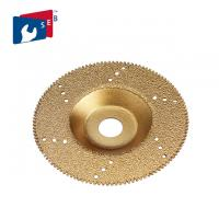China Gold Color Flat Vacuum Brazed Diamond Cup Wheel 22.23 Mm Hole For Marble Slab wholesale