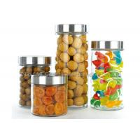 China Houseware glass canisters with metal lids / clear glass kitchen canisters 2.1L 1.5L 1L 0.7L wholesale
