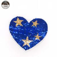 China Bling Sequin Heart Patch With Star , Sequin Heart Applique 21.5*18.5CM Size wholesale