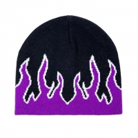 China Fashion Fire Design Knit Beanie Hats Woven Label Character Style wholesale