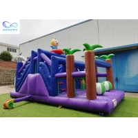 China 4 in 1 kids outdoor pvc tarpaulin material inflable bouncer Inflatable forest slide wholesale