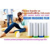 China HDPE Masking Film,Indoor Application Pretaped Drop Cloths,masking film,pre-taped cover car painting protection film hous on sale