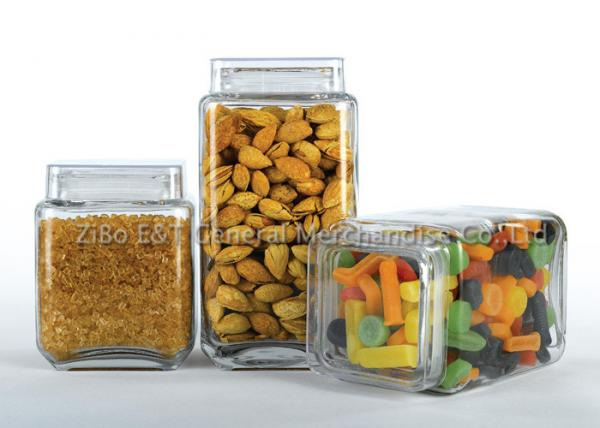 Quality Three  pieces square glass canister set  with plastic lids  for food / glass kitchen storage containers for sale