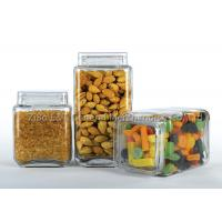 China Three  pieces square glass canister set  with plastic lids  for food / glass kitchen storage containers wholesale
