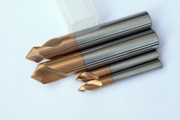 Quality 6mm 90º Solid Carbide Chamfer End Mill 0.6 - 0.8 UM Grain Size High Hardness for sale