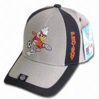 China Sports Cap with Back Velcro Closure, Logo Embroidery on Front and Peak wholesale