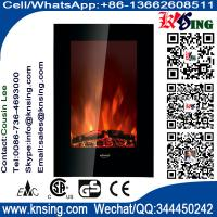 "China 23""Black Flat Tempered Glass Standing Wall Mounted Electric Fireplace Heater(Pebbles/log Fuel) flame effect EF490/EF491 wholesale"