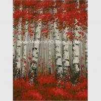 China Hand Painted Modern Art Oil Painting Brich Forest , Abstract Landscape Painting wholesale