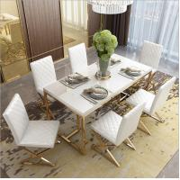 China Stainless Steel Base Tempered Glass Marble Dining Table 6 chairs wholesale
