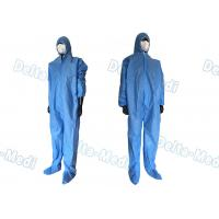 China Safe Disposable Coverall Suit , SMS Disposable Blue Coveralls With Hood / Boots Integral on sale
