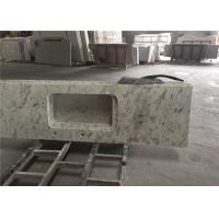 China White Granite Prefab Kitchen Countertops With Polished Eased Edge Customized Size wholesale