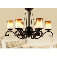 China Candle Type Wrought Iron Art Deco Chandelier with Iron and Glass , Modern or Traditional wholesale