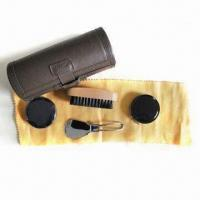 China Shoe Care Kit with PU Bag, Includes Shoe Brush, Shoe Horn, Shoe Cloth, Shoe Polisher and Shoe Sponge wholesale