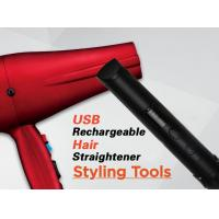 China Red Cordless Rechargeable Hair Straighteners Flat Iron With USB Charger​ wholesale